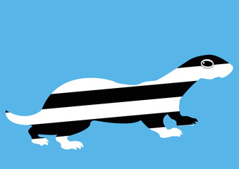 cartoon striped ferret