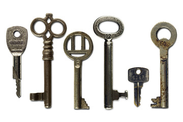 set of six vintage keys on white