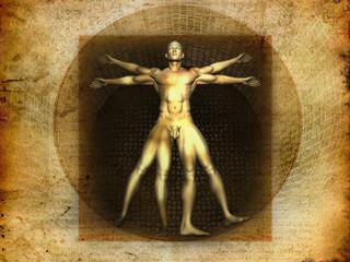 Stylized illustration of Laonardo Da vinci's Vitruvian Man