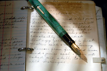 Vintage Fountain Pen and Old Writing in Cookbook