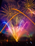 Fireworks display with multiple bursts poster
