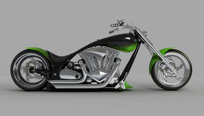 macho  custom bike or motorcycle side view