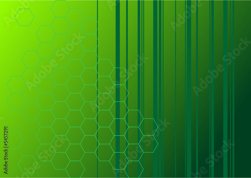 Green abstract background with stripes and hexagons