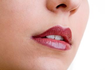 Zartes Gesicht von Frau mit Nase und roten Lippen