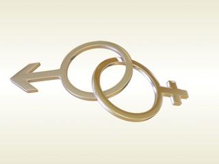 Gold love symbol