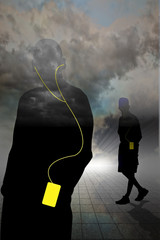 Two walking in clouds wearing MP3 players and headphones