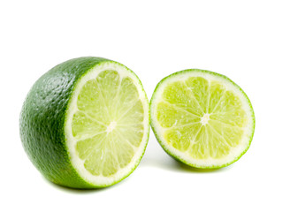 healthy green lime fruit, isolated on white