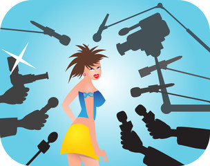 Superstar under attack of reporters.