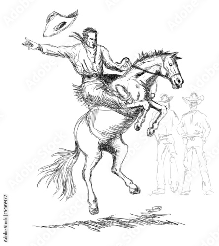 Bronc Riding Drawings Rodeo Cowboy Riding a Bucking