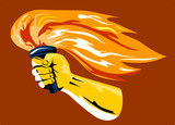 Hand with flaming torch poster