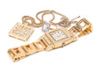 Jewelry set. Golden watch, ring and necklace. - 5471862