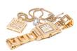 Leinwandbild Motiv Jewelry set. Golden watch, ring and necklace.