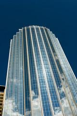 unusual slightly curved modern skyscraper in boston
