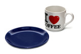 Empty blue plate and coffee cup isolated on white poster
