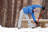 Exercising with nordic walking poles poster