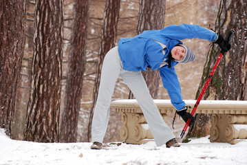 Exercising with nordic walking poles