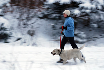 running with a dog