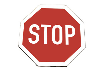 Used traffic sign - STOP, isolated on white