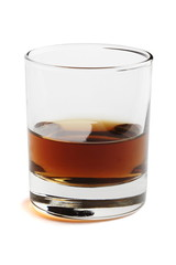 Whisky in a glass. Object over white.
