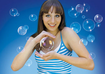 young girl with soap-bubbles