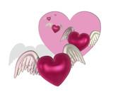 Five hearts flying through a cutout heart shape - 3D render. poster