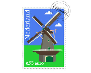 Dutch fantasy stamp of a windmill
