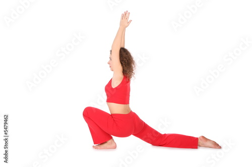 yoga girl hands up