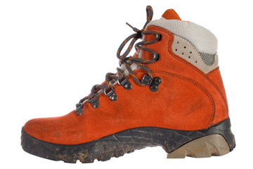 single red trekking boot from side