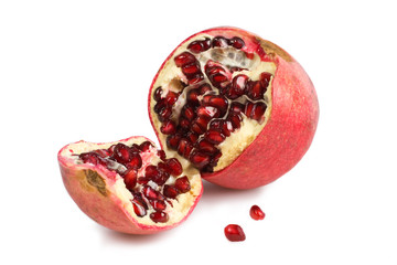 Pomegranate split open showing the arils