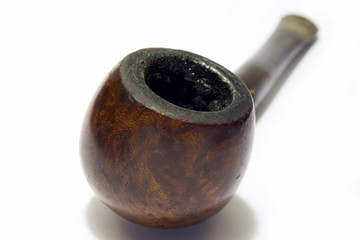 Old smoked English briar pipe