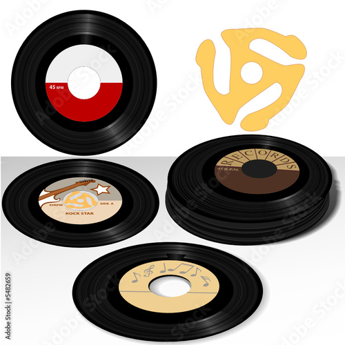 Stack of Retro 45 RPM Records