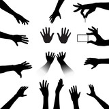 People Hands Silhouettes Set