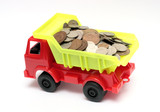 toy lorry with coins - business concept poster