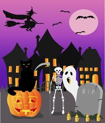 Halloween witch, cat and skeleton with pumpkin, vector