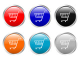 glossy buttons shopping cart poster