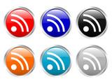 glossy buttons rss symbol poster