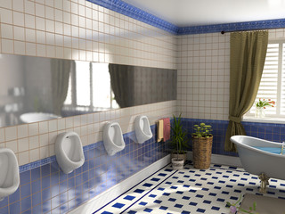 the luxury toilet interior (3D rendering)