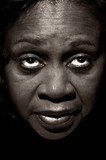 Portrait of Afro American woman on Black Background
