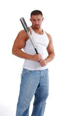 A muscular man holding a baseball bat