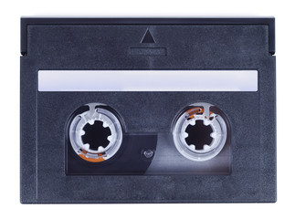 Black cassette isolated with clipping path over white background