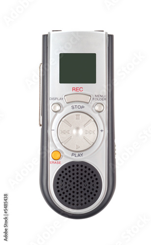 Portable dictaphone isolated with clipping path over white