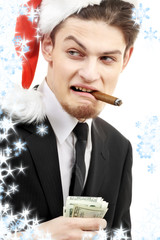 corporate suit man playing bad santa with snowflakes