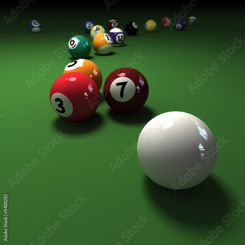 Billiards game with cubic cue ball 3