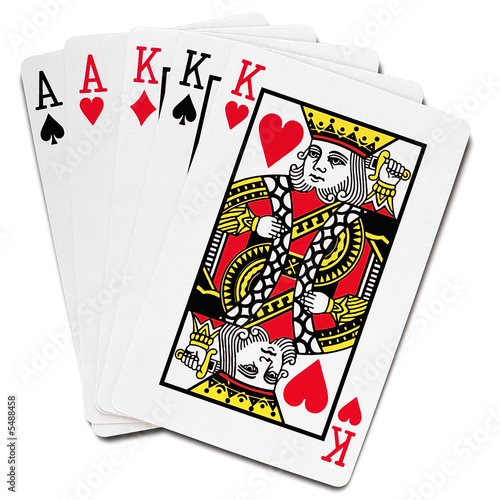 playing cards - full house, poker hand - on white