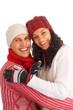 two happy winter friends