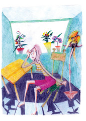OUNG GIRL SITTING IN ROOM WITH PARROT