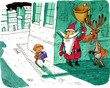 CARICATURE,,SANTA,CLAUS,AND,DEER,WITH,BIG,BELL