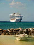 cruise ship visiting exotic port poster