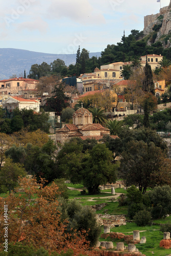 Athens, Greece - View of the Agora and  Byzantine church