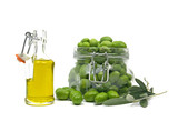 Extra virgin olive oil with green olives poster